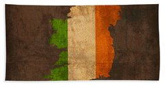 Map Of Ireland With Flag Art On Distressed Worn Canvas Hand Towel