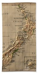 Map Of New Zealand 1880 Bath Towel
