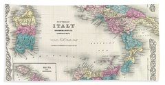 Map Of Southern Italy Sicily Sardinia And Malta Bath Towel