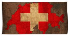 Map Of Switzerland With Flag Art On Distressed Worn Canvas Bath Towel