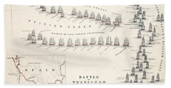 Map Of The Battle Of Trafalgar Hand Towel