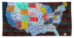 Map Of The United States In Vintage License Plates On American Flag Bath Towel