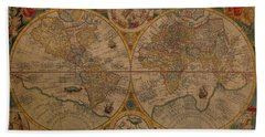 Map Of The World 1599 Vintage Ancient Map On Worn Parchment Hand Towel