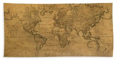 Map Of The World In 1784 Latin Text On Worn Stained Vintage Parchment Hand Towel