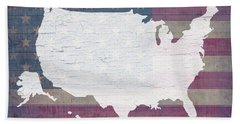 Map Of United States In White Old Paint On American Flag Barn Wood Bath Towel