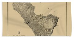 Map Of West Point 1883 Bath Towel