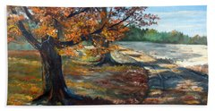 Hand Towel featuring the painting Maple Lane by Lee Piper