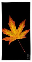 Maple Leaf On Black Bath Towel