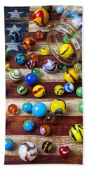 Marbles On American Flag Hand Towel