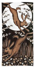 March Hares, 2013 Woodcut Hand Towel