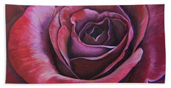 Bath Towel featuring the painting March Rose by Thu Nguyen