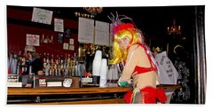 Hand Towel featuring the photograph Mardi Gras Bar French Quarter by Luana K Perez