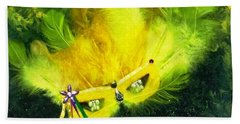 Bath Towel featuring the painting Mardi Gras On Green by Alys Caviness-Gober