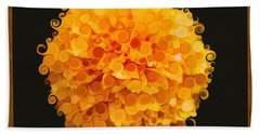 Marigold Magic Abstract Flower Art Bath Towel