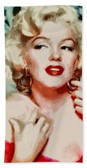 Bath Towel featuring the painting Marilyn Monroe In Red Dress by Georgi Dimitrov