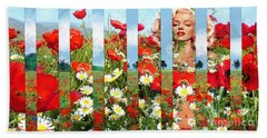 Marilyn In Poppies 1 Bath Towel