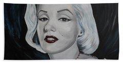 Bath Towel featuring the painting Marilyn Monroe by Julie Brugh Riffey