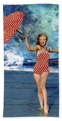 Marilyn Monroe - On The Beach Hand Towel by EricaMaxine  Price