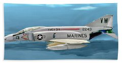 Marine F-4 Phantom  Painting Hand Towel by Bob and Nadine Johnston