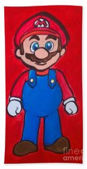 Hand Towel featuring the painting Mario by Marisela Mungia