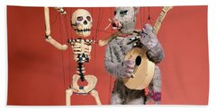 Marionette Puppets A Skeleton And A Cat Hand Towel
