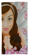 Hand Towel featuring the painting Marisela by Marisela Mungia