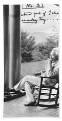 Mark Twain On A Porch Hand Towel