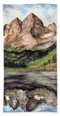 Maroon Bells Colorado - Landscape Painting Hand Towel
