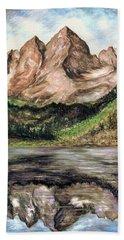 Maroon Bells Colorado - Landscape Painting Hand Towel