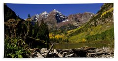 Bath Towel featuring the photograph Maroon Bells by Jeremy Rhoades