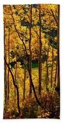 Maroon Lake Gold Bath Towel by Jeremy Rhoades