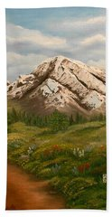 Hand Towel featuring the painting Maroon Trail Splendor by Sheri Keith