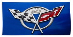Bath Towel featuring the photograph Marque 50th Anniversary Corvette by John Schneider