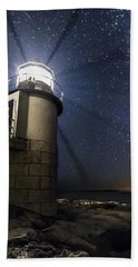 Marshall Lighthouse And The Night Sky Bath Towel by John Vose