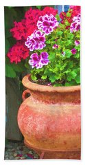 Hand Towel featuring the photograph Martha Washington Geraniums In Textured Clay Pot by Sandra Foster
