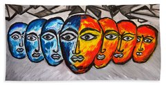 Hand Towel featuring the painting Masks by Ramona Matei