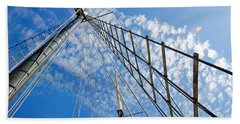 Masted Sky Bath Towel by Keith Armstrong
