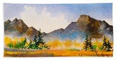 Hand Towel featuring the painting Matanuska Autumn by Teresa Ascone