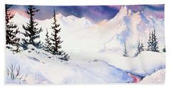 Bath Towel featuring the painting Matanuska Sunset Impression by Teresa Ascone