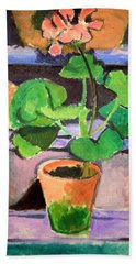 Matisse's Pot Of Geraniums Bath Towel by Cora Wandel