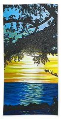 Bath Towel featuring the painting Maui Sunset by Donna Blossom