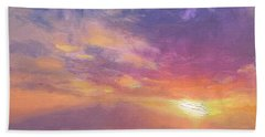 Maui To Molokai Hawaiian Sunset Beach And Ocean Impressionistic Landscape Bath Towel