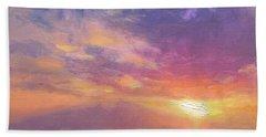 Maui To Molokai Hawaiian Sunset Beach And Ocean Impressionistic Landscape Bath Towel by Karen Whitworth
