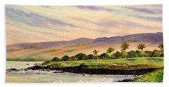 Mauna Kea Golf Course Hawaii Hole 3 Hand Towel by Bill Holkham