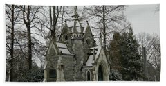 Bath Towel featuring the photograph Mausoleum In Winter by Kathy Barney