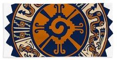 Bath Towel featuring the digital art Mayan Hunab Ku by Vagabond Folk Art - Virginia Vivier