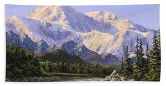 Majestic Denali Mountain Landscape - Alaska Painting - Mountains And River - Wilderness Decor Bath Towel