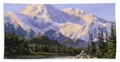 Majestic Denali Mountain Landscape - Alaska Painting - Mountains And River - Wilderness Decor Hand Towel