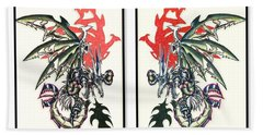 Bath Towel featuring the painting Mech Dragons Collide by Shawn Dall