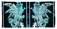 Bath Towel featuring the mixed media Mech Dragons Diamond Ice Crystals by Shawn Dall